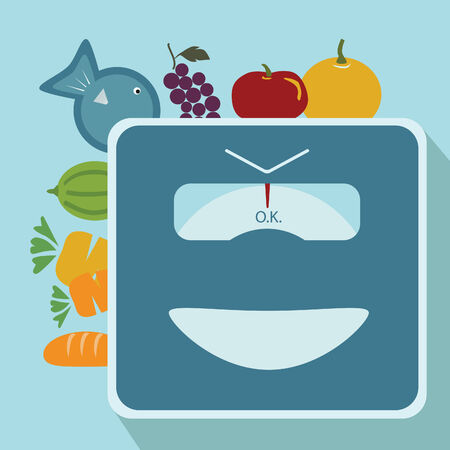 weighing machine and vegetable concept Vector