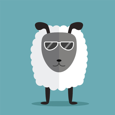 white sheep with glasses Vector