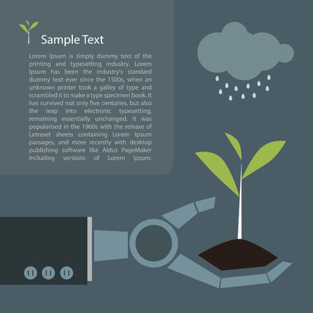 Young plant in robot hand future concept Vector