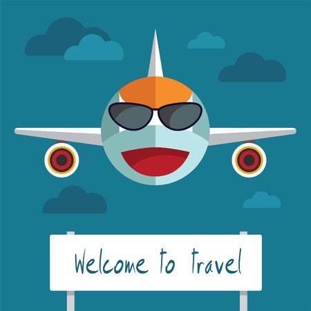 business travel: Flugzeug smiley Konzept der Gesch�ftsreise Illustration