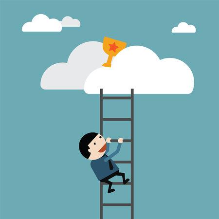 objectivity: Businessman climb of stair