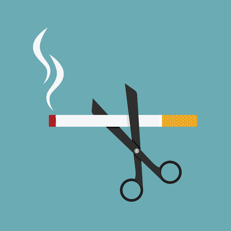 smoking: scissors cut a cigarettes, concept for anti smoking