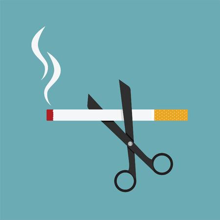 fumando: tijeras cortaron un cigarrillo, el concepto de lucha contra el tabaquismo Vectores