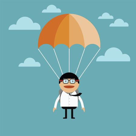 parachuter: Businessman jump of a parachute