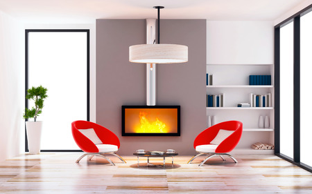 chimney pot: modern of living room interior modern style concept Stock Photo