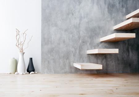 primer plano de la escalera de madera y cerámica florero