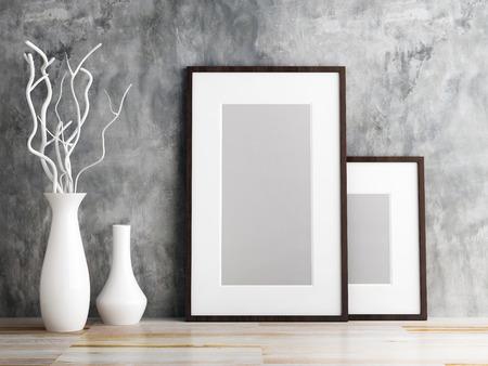 画像のフレームと木製の床の上に花瓶を飾る