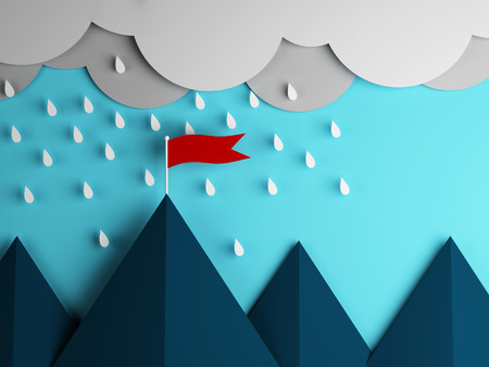 red flag on the mountain and clouds with rain photo
