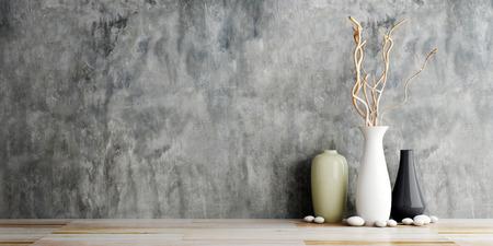 木造とコンクリートの壁の背景に花瓶陶器 写真素材