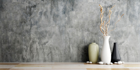vase ceramics on wooden and concrete wall background