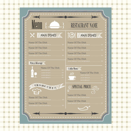 cafe bar: vintage of restaurant menu design