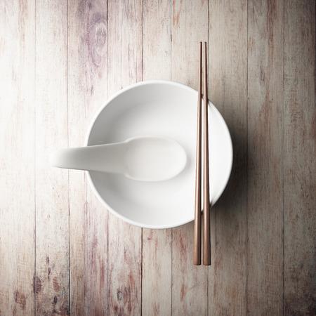empty bowl: empty of white bowl Stock Photo