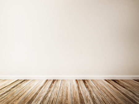 Empty room of white wall and wood floor Banque d'images