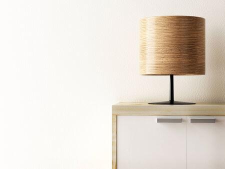 キャビネットのクローズ アップ、ライフ スタイル概念の木製ランプ