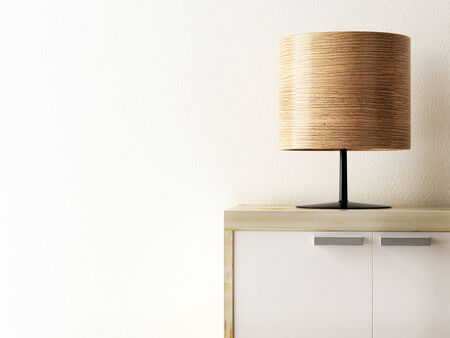 wood lamp on cabinet closeup, life style concept