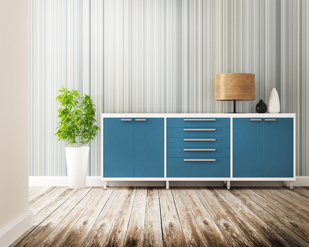 green wallpaper: cabinet and furniture of interior decorated Stock Photo