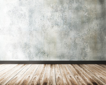 concrete wall and wood floor Stockfoto