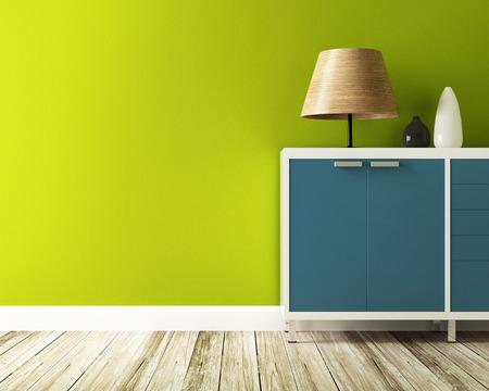 グリーンの壁とキャビネットを飾る 写真素材