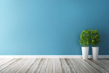 white flower plot and blue wall interior 写真素材
