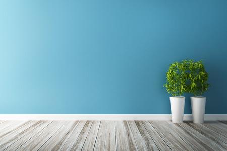 white flower plot and blue wall interior Foto de archivo