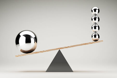 isolated white: Balancing balls on wooden board conception