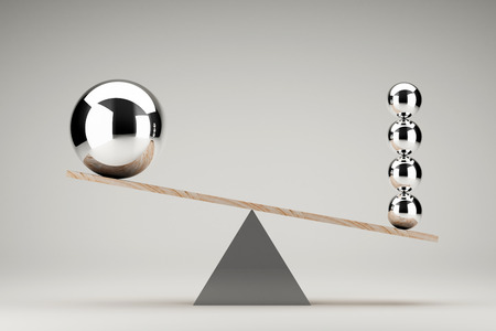 Balancing balls on wooden board conception