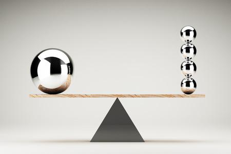 Balancing balls on wooden board conception