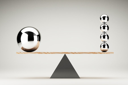 seesaw: Balancing balls on wooden board conception