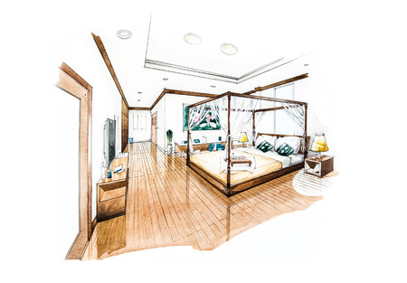 modern house sketch: bedroom design of watercolor painting Stock Photo