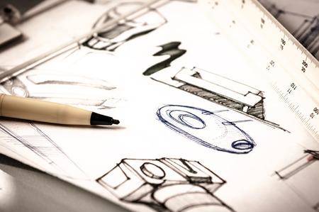 idee schets van productontwerp Stockfoto
