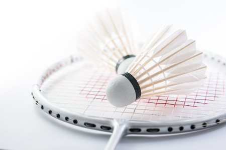 Shuttle op badminton racket close-up Stockfoto - 33753621