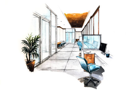 Office room design of watercolor painting