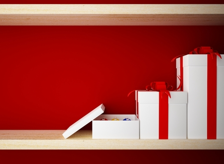 open gift box: Gift box on wood shelf closeup Stock Photo