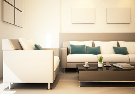 decoracion mesas: Sal�n del interior representaci�n 3d decoradas