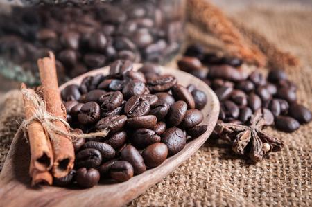 ladle: closeup coffee beans on ladle