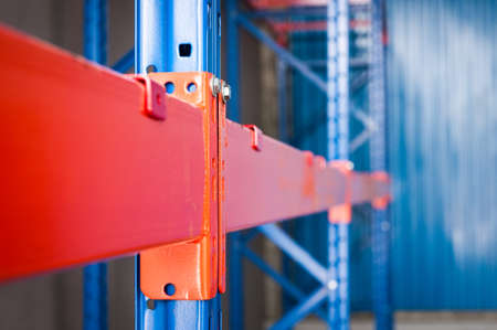 room to let: steel shelf of Industrial tool closeup Stock Photo