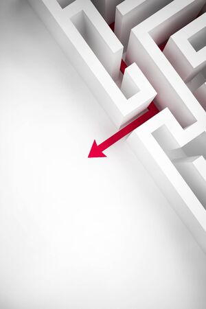 conception: arrow out of labyrinth for success business conception