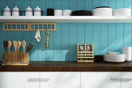 wood room: closeup of counter and Kitchen Accessories Stock Photo