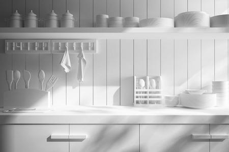 cuchillo de cocina: primer plano de mostrador y Accesorios de Cocina Foto de archivo
