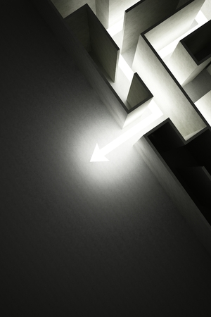 constraint: light arrow out of labyrinth business concept