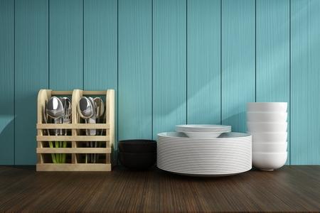 Cucharas y plato blanco en la mesa de madera de accesorios de cocina Foto de archivo - 39622183