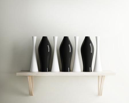 wood shelf: florero decorar cer�mica y el estante de madera del interior