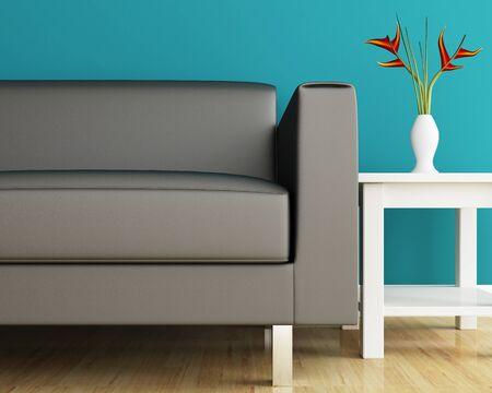 Sofa and coffee table closeup of interior photo