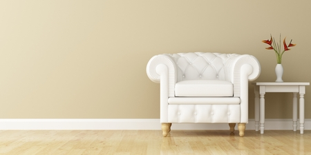 armchair: White armchair and wall decorated of interior design