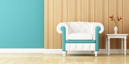 armchair and wall decorated of interior design photo