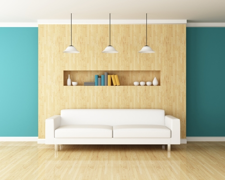 Sofa and wall decorated of interior design photo