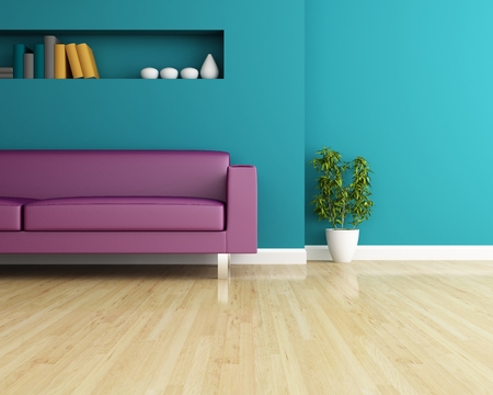 comfortable home: Sofa and wall decorated of interior design Stock Photo