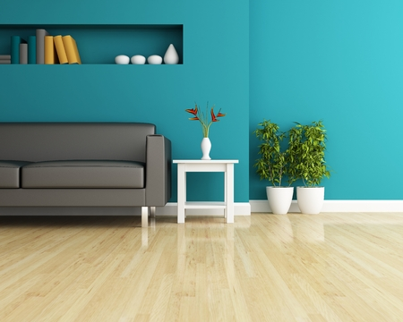 wood furniture: Sofa and wall decorated of interior design Stock Photo