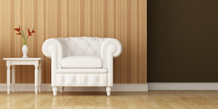 White armchair and wall decorated of interior design photo