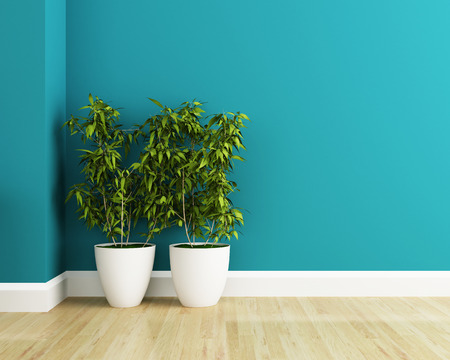 白い花のプロットと青い壁インテリア